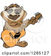 Cartoon Happy Sloth Playing An Acoustic Guitar