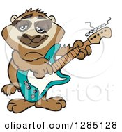 Cartoon Happy Sloth Playing An Electric Guitar