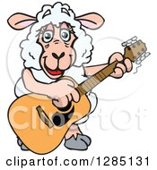 Clipart Of A Cartoon Happy Sheep Playing An Acoustic Guitar Royalty Free Vector Illustration