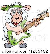 Clipart Of A Cartoon Happy Sheep Playing An Electric Guitar Royalty Free Vector Illustration