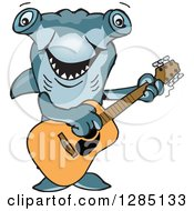 Clipart Of A Cartoon Happy Hammerhead Shark Playing An Acoustic Guitar Royalty Free Vector Illustration