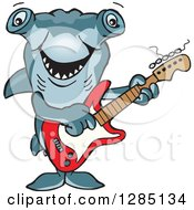Clipart Of A Cartoon Happy Hammerhead Shark Playing An Electric Guitar Royalty Free Vector Illustration