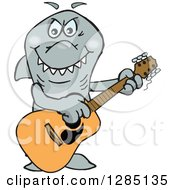 Clipart Of A Cartoon Happy Shark Playing An Acoustic Guitar Royalty Free Vector Illustration