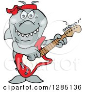 Clipart Of A Cartoon Happy Shark Playing An Electric Guitar Royalty Free Vector Illustration by Dennis Holmes Designs
