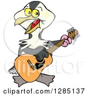 Clipart Of A Cartoon Happy Shag Bird Playing An Acoustic Guitar Royalty Free Vector Illustration