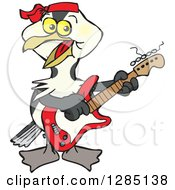 Clipart Of A Cartoon Happy Shag Bird Playing An Electric Guitar Royalty Free Vector Illustration
