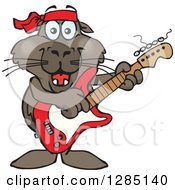 Cartoon Happy Sea Lion Playing An Electric Guitar