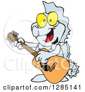 Cartoon Happy Seahorse Playing An Acoustic Guitar