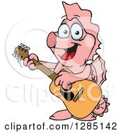 Cartoon Happy Pink Seahorse Playing An Acoustic Guitar