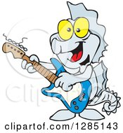Cartoon Happy Seahorse Playing An Electric Guitar