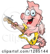 Cartoon Happy Pink Seahorse Playing An Electric Guitar
