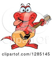 Clipart Of A Cartoon Happy Red Salamander Playing An Acoustic Guitar Royalty Free Vector Illustration