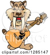 Clipart Of A Cartoon Happy Saber Toothed Tiger Playing An Acoustic Guitar Royalty Free Vector Illustration by Dennis Holmes Designs
