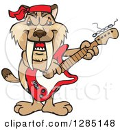 Clipart Of A Cartoon Happy Saber Toothed Tiger Playing An Electric Guitar Royalty Free Vector Illustration by Dennis Holmes Designs