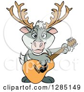 Clipart Of A Cartoon Happy Reindeer Playing An Acoustic Guitar Royalty Free Vector Illustration by Dennis Holmes Designs
