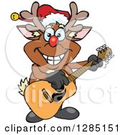 Cartoon Happy Red Nosed Rudolph Christmas Reindeer Playing An Acoustic Guitar