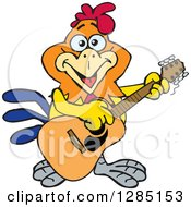 Clipart Of A Cartoon Happy Rooster Playing An Acoustic Guitar Royalty Free Vector Illustration
