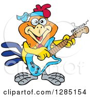 Clipart Of A Cartoon Happy Rooster Playing An Electric Guitar Royalty Free Vector Illustration