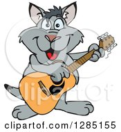 Cartoon Happy Kangaroo Playing An Acoustic Guitar