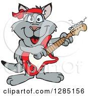 Cartoon Happy Kangaroo Playing An Electric Guitar