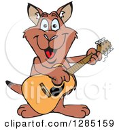 Cartoon Happy Red Kangaroo Playing An Acoustic Guitar