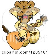 Clipart Of A Cartoon Happy Rattlesnake Playing An Acoustic Guitar Royalty Free Vector Illustration