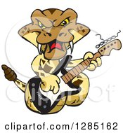 Clipart Of A Cartoon Happy Rattlesnake Playing An Electric Guitar Royalty Free Vector Illustration by Dennis Holmes Designs