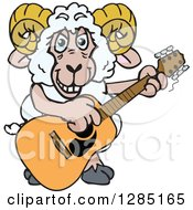 Clipart Of A Cartoon Happy Sheep Ram Playing An Acoustic Guitar Royalty Free Vector Illustration