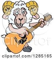 Cartoon Happy Sheep Ram Playing An Acoustic Guitar
