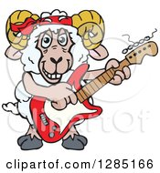 Clipart Of A Cartoon Happy Sheep Ram Playing An Electric Guitar Royalty Free Vector Illustration