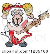 Cartoon Happy Sheep Ram Playing An Electric Guitar