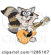 Cartoon Happy Raccoon Playing An Acoustic Guitar