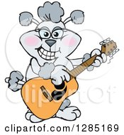 Clipart Of A Cartoon Happy Gray Poodle Dog Playing An Acoustic Guitar Royalty Free Vector Illustration by Dennis Holmes Designs