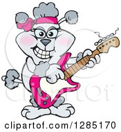 Clipart Of A Cartoon Happy Gray Poodle Playing An Electric Guitar Royalty Free Vector Illustration by Dennis Holmes Designs