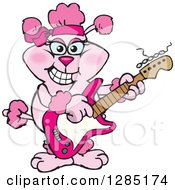 Clipart Of A Cartoon Happy Pink Poodle Playing An Electric Guitar Royalty Free Vector Illustration