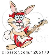 Cartoon Happy Rabbit Playing An Electric Guitar