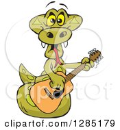 Clipart Of A Cartoon Happy Python Snake Playing An Acoustic Guitar Royalty Free Vector Illustration