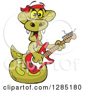 Clipart Of A Cartoon Happy Python Snake Playing An Electric Guitar Royalty Free Vector Illustration