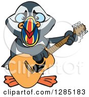 Clipart Of A Cartoon Happy Puffin Bird Playing An Acoustic Guitar Royalty Free Vector Illustration by Dennis Holmes Designs