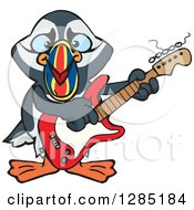 Clipart Of A Cartoon Happy Puffin Bird Playing An Electric Guitar Royalty Free Vector Illustration by Dennis Holmes Designs