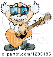 Cartoon Happy Scientist Playing An Acoustic Guitar