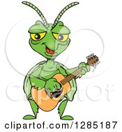 Clipart Of A Cartoon Happy Praying Mantis Playing An Acoustic Guitar Royalty Free Vector Illustration by Dennis Holmes Designs