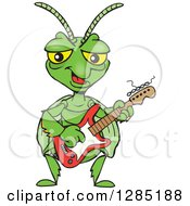 Clipart Of A Cartoon Happy Praying Mantis Playing An Electric Guitar Royalty Free Vector Illustration by Dennis Holmes Designs