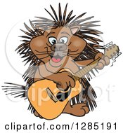 Cartoon Happy Porcupine Playing An Acoustic Guitar