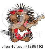 Cartoon Happy Porcupine Playing An Electric Guitar