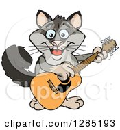 Clipart Of A Cartoon Happy Possum Playing An Acoustic Guitar Royalty Free Vector Illustration