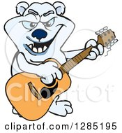Clipart Of A Cartoon Polar Bear Playing An Acoustic Guitar Royalty Free Vector Illustration by Dennis Holmes Designs