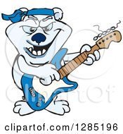 Clipart Of A Cartoon Polar Bear Playing An Electric Guitar Royalty Free Vector Illustration by Dennis Holmes Designs
