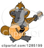 Clipart Of A Cartoon Happy Platypus Playing An Acoustic Guitar Royalty Free Vector Illustration by Dennis Holmes Designs