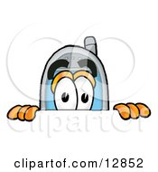 Clipart Picture Of A Wireless Cellular Telephone Mascot Cartoon Character Peeking Over A Surface
